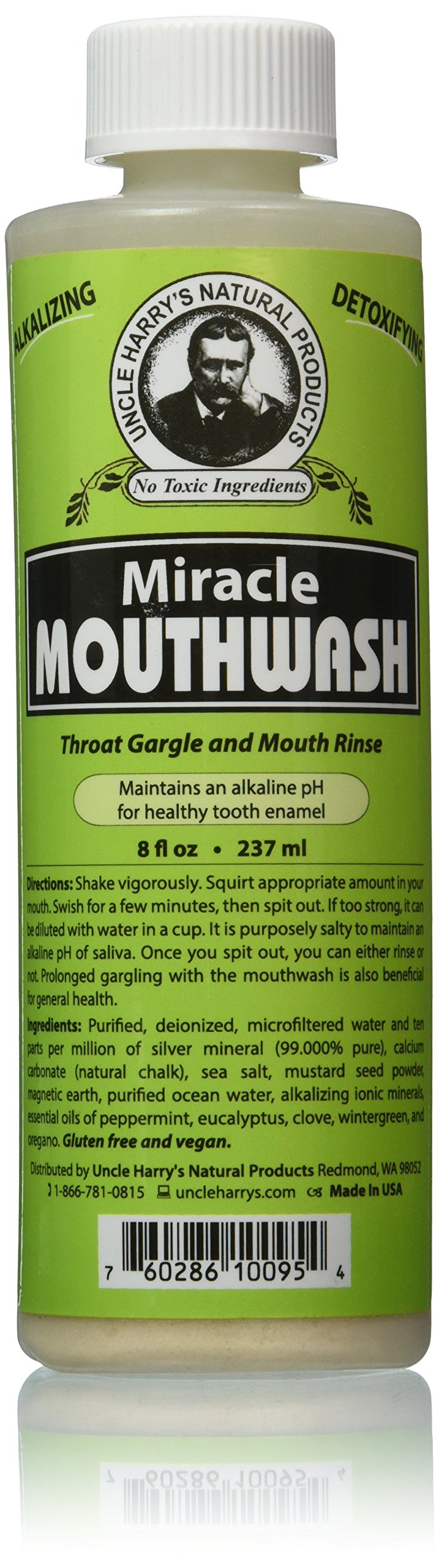 Uncle Harry's Natural Alkalizing Miracle Mouthwash - Balances pH & Soothes Throat While Freshening Breath (8 fl. oz.)