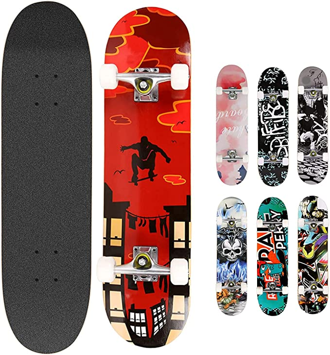 corn cake Skateboard concave Professionale per Principianti per Bambini Adulti di 80 cm-B