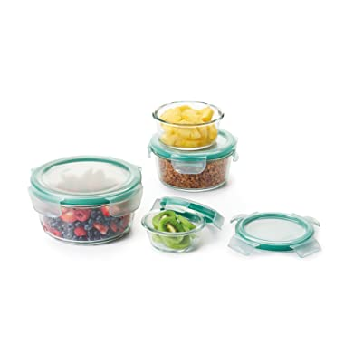 OXO Good Grips 8 Piece SNAP Leakproof Glass Round Food Storage Container Set