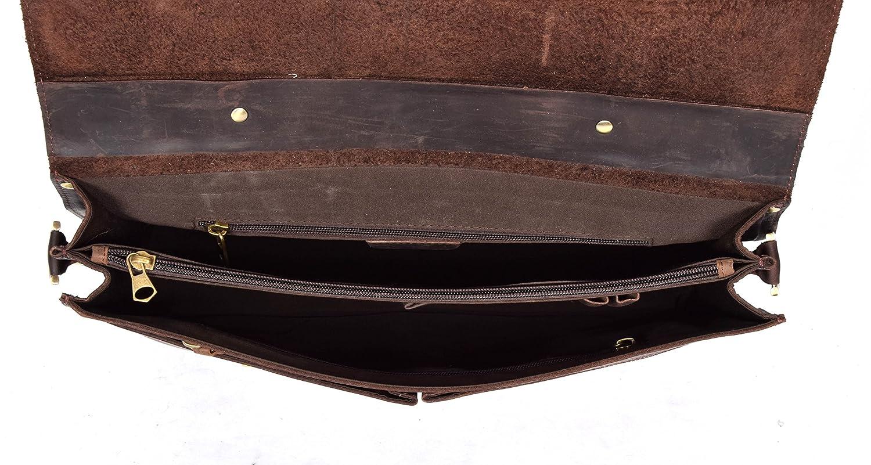 Real Leather Briefcase Shoulder Cross Body Organiser Bag Office Work Satchel H8028 Brown