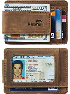 NapaWalli Genuine Leather Magnetic Front Pocket Money Clip Wallet RFID  Blocking 342aa36884a98