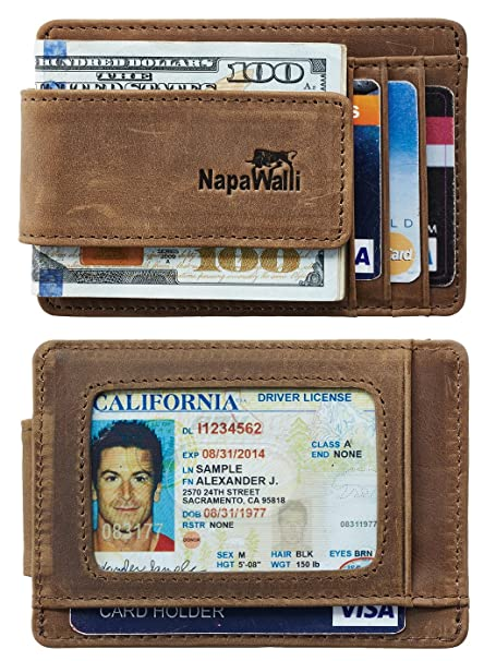 ad2939bb3723 NapaWalli Genuine Leather Magnetic Front Pocket Money Clip Wallet RFID  Blocking (Crazy Horse Khaki)