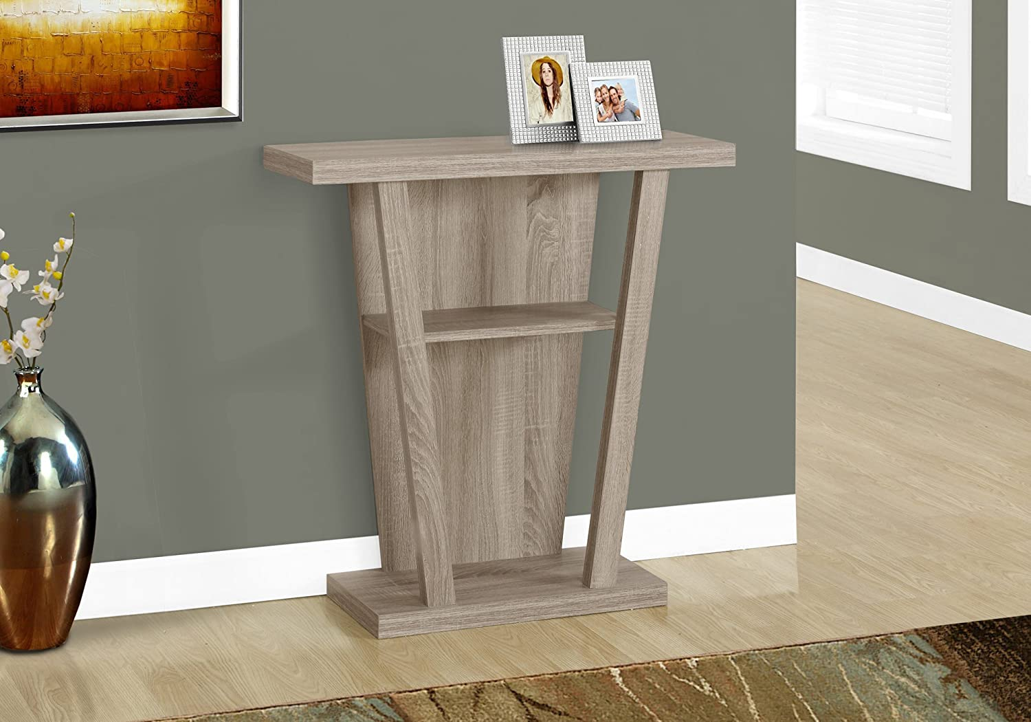 Hooseng Grey Wash, Console Sofa Table Easy Assembly with Two Storage Drawers and Bottom Shelf for Living Room, Entryway