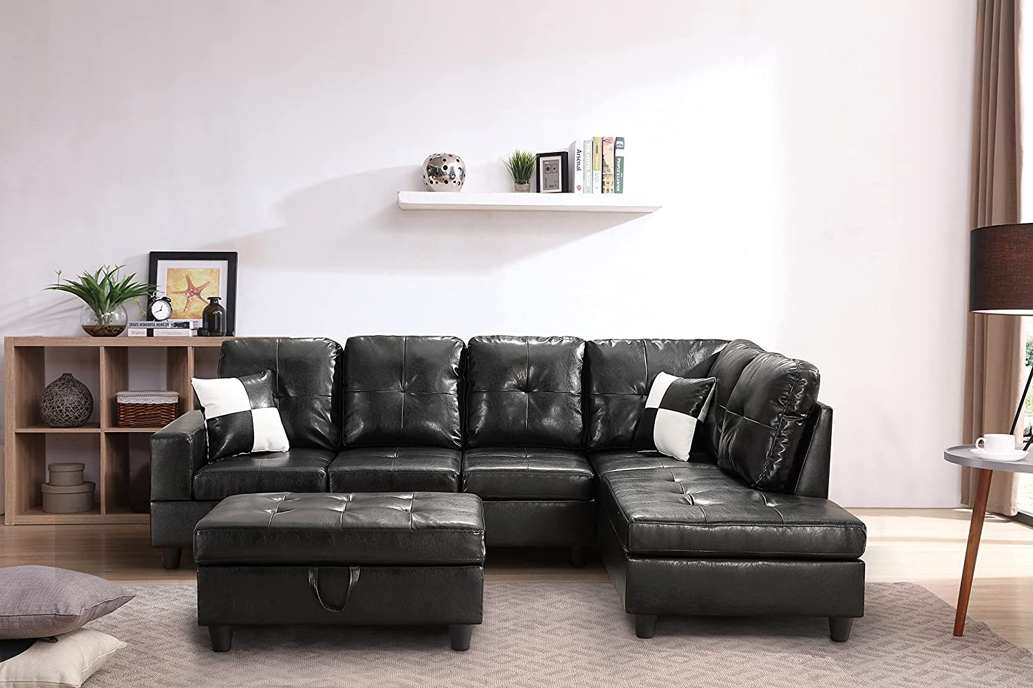 GAOPAN Home Sectional Set Faux Leather Tufted Cushions Living Room, 5 Seats Sofa Couch with Reversible Right Chaise Lounge and Storage Ottoman, Black