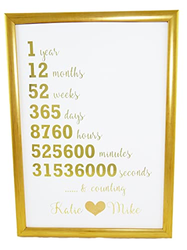 First Wedding Anniversary Gift Present Gold Silver Rose Gold Print Years Months Weeks Days Hours Minutes Seconds Amazon Co Uk Handmade