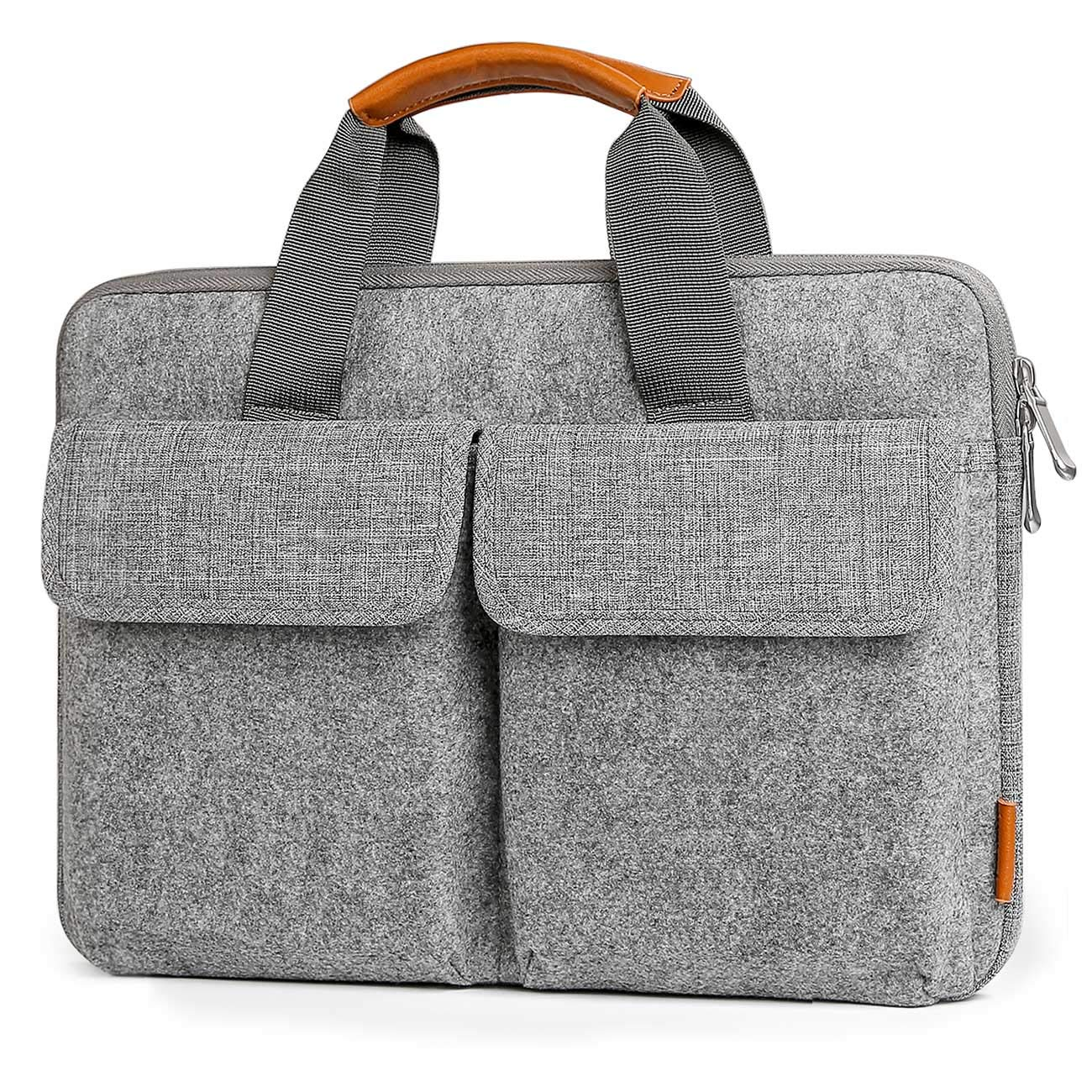 Inateck 14-14.1 inch Laptop Sleeve Briefcase, Felt Laptop Bag Case Compatible 15'' MacBook Pro 2018/2017/2016, 14.1 inch Laptop Ultrabook Netbook Commute Business School Bag - Light Gray