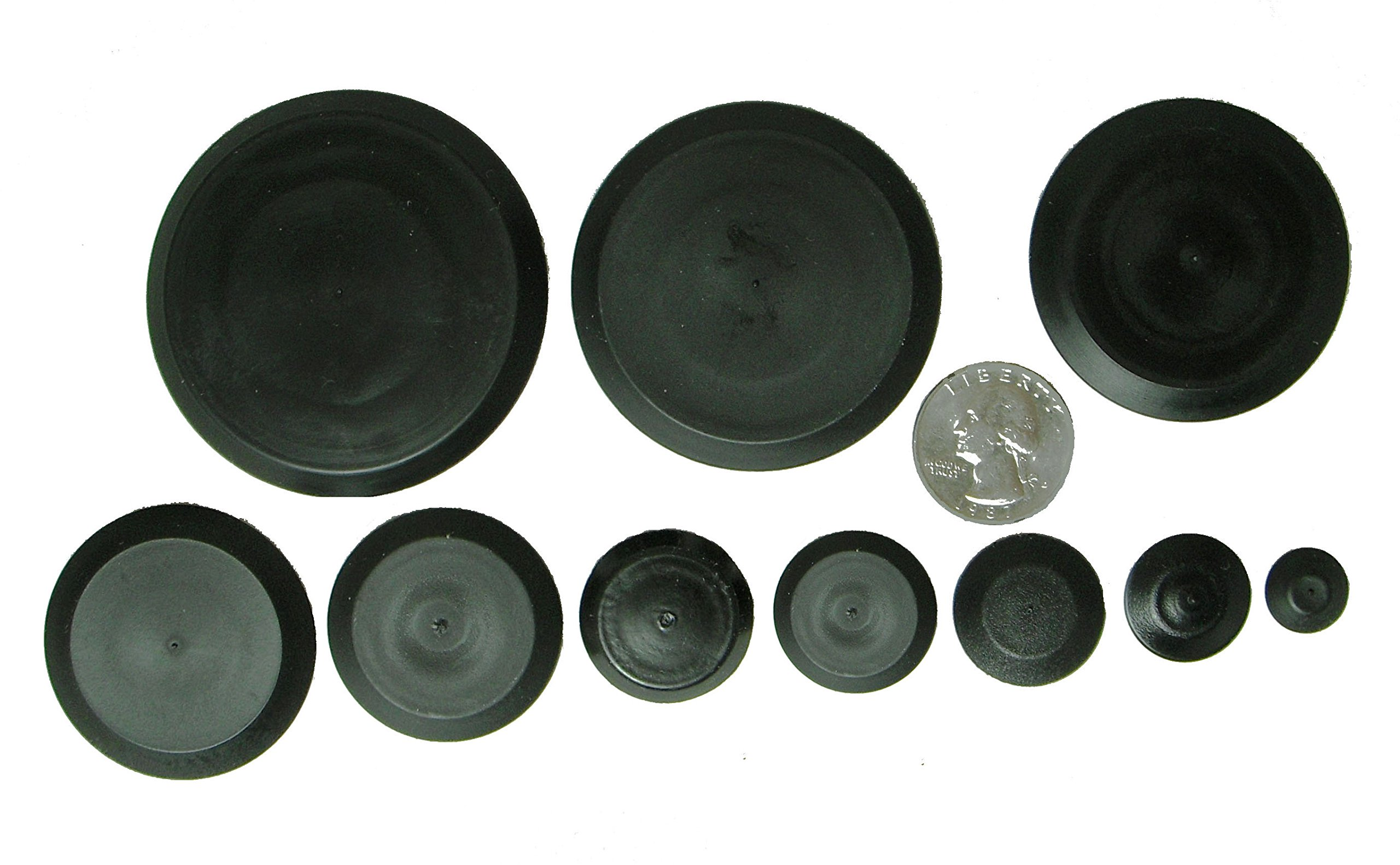 Upper Bound 60 Piece Flush Mount Black Hole Plug Assortment for Auto Body Sheet Metal 10 Sizes