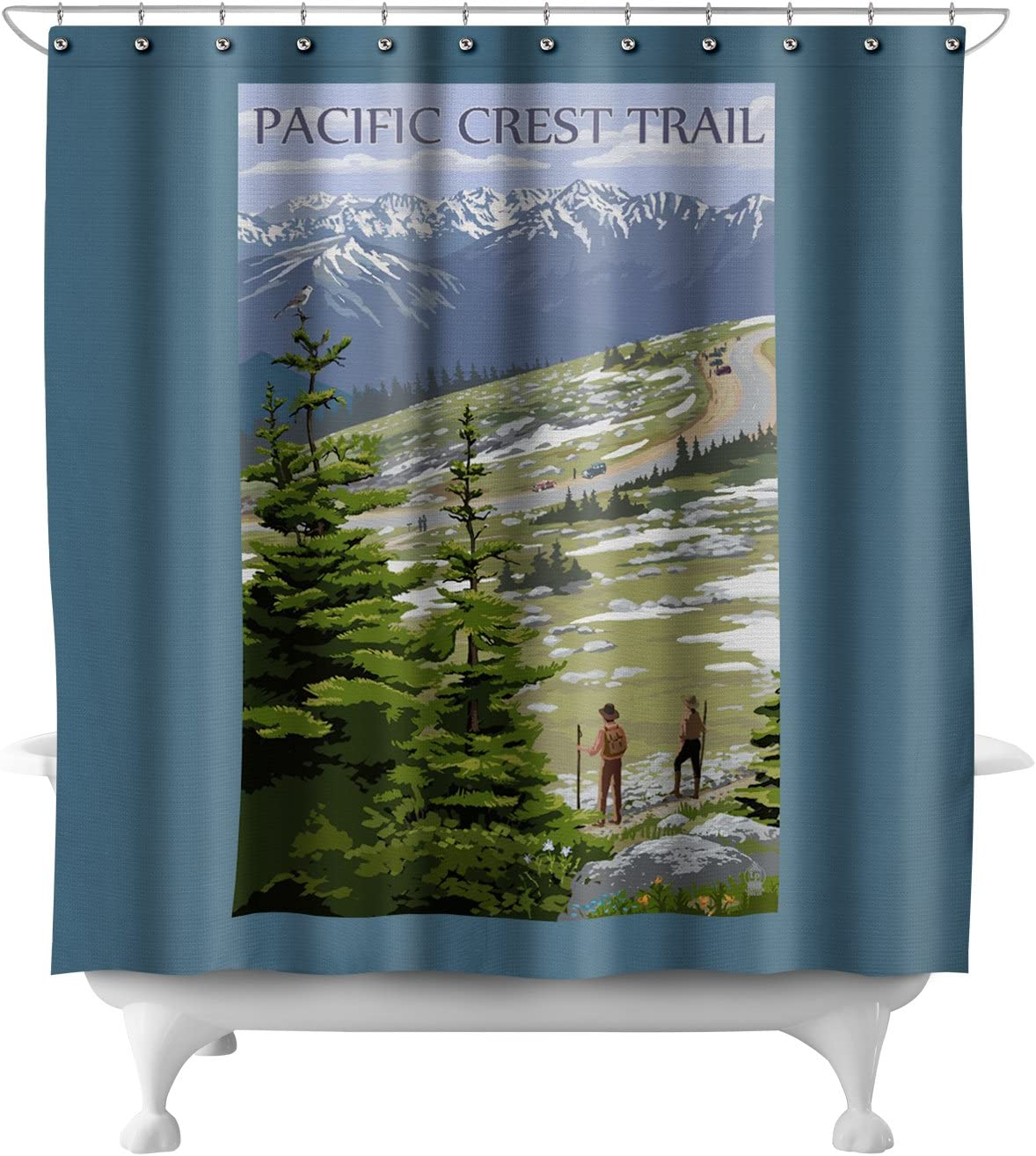 Pacific Crest Trail and Hikers (71x74 Polyester Shower Curtain)