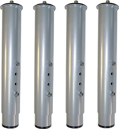 IMEX EL ZORRO Juego 4 Patas canapé Regulable, Metal, Neutro, 39x5x3 cm