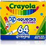 CRAYOLA 588764 Skinnies Markers, 64 Washable Colours, Art & Craft, Easy to Hold, Colouring, Ages 3, 4, 5, 6