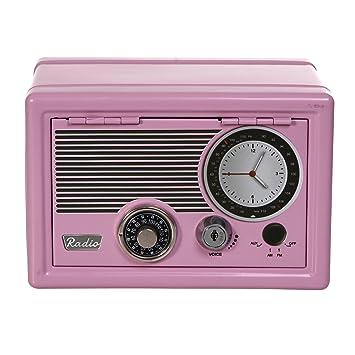 Amazon.com : Beautiful Retro Pink Radio Design Metal Safe With Dial ...