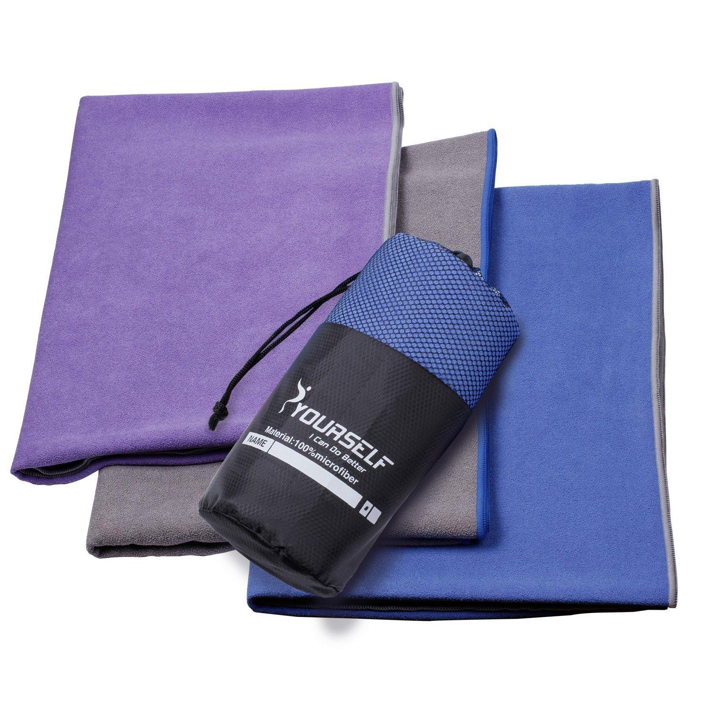 Syourself Extrafeine Faser Yoga Handtuch -61cm x 183cm- Gilt für Yoga, Fitness, Training, Outdoor-Sport, Rutschfestigkeit der Reise, superschweißsaugfähiges + tragbare Reisetasche