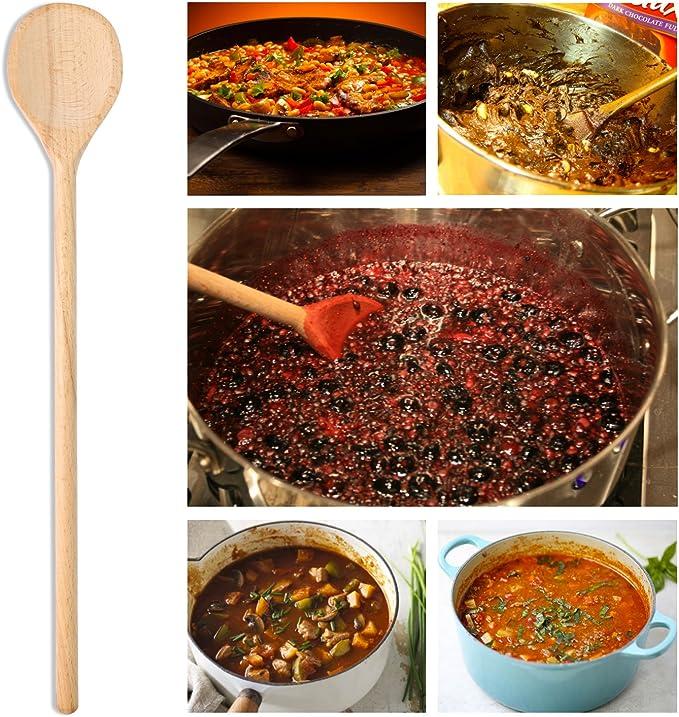 para mezclar agitadores hornear servir utensilios de cocina cuchara de madera Cucharas de madera grandes Utensilios de madera extra largo cucharas de madera de mango largo