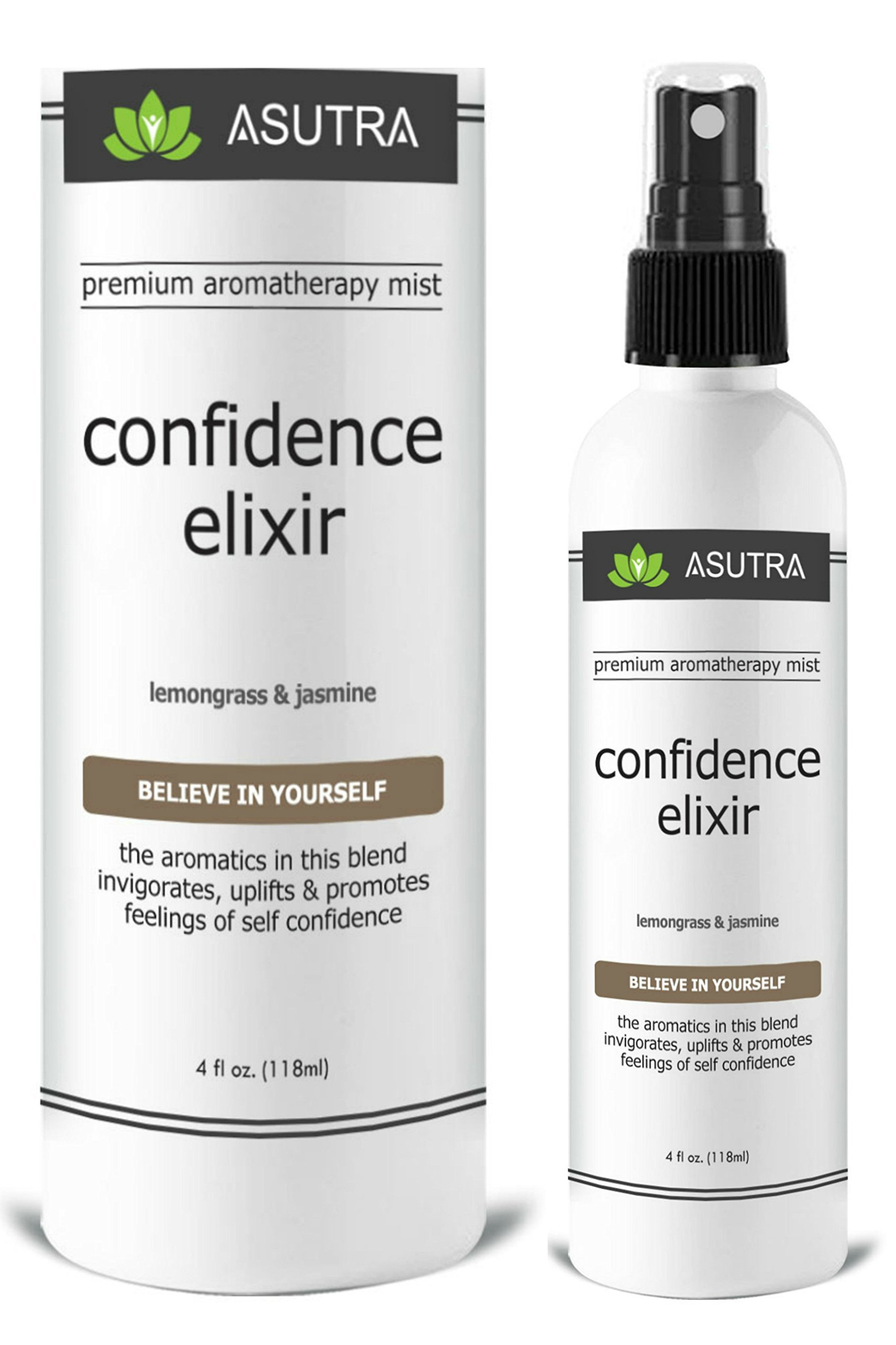 ASUTRA Premium Aromatherapy Mist -''CONFIDENCE ELIXIR'' - Believe In Yourself - 100% ALL NATURAL & ORGANIC Room & Body Mist, Essential Oil Blend - Lemongrass & Jasmine - 100% GUARANTEED