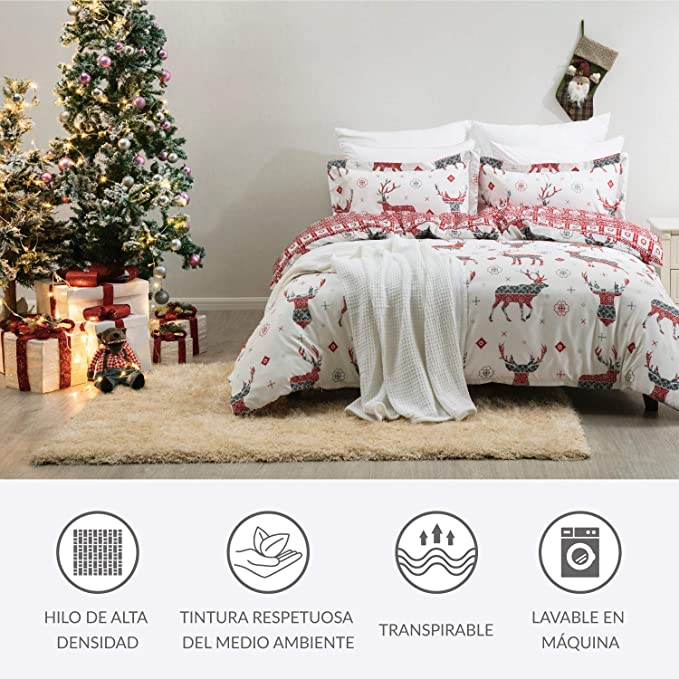 Bedsure Funda Nórdica Navidad Cama 150/135cm - Patrón de Reno Reversible - Fundas Edredon 230x220cm con 2 Fundas de Almohada 40x75cm 3 Piezas
