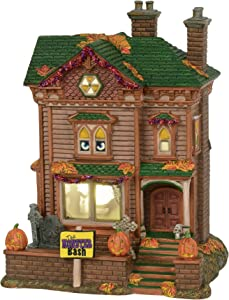 Department56 Snow Village Halloween Trick-or-Treat Lane Monster Mash Party House Animated Musical Lit Building, 10 Inch, Multicolor