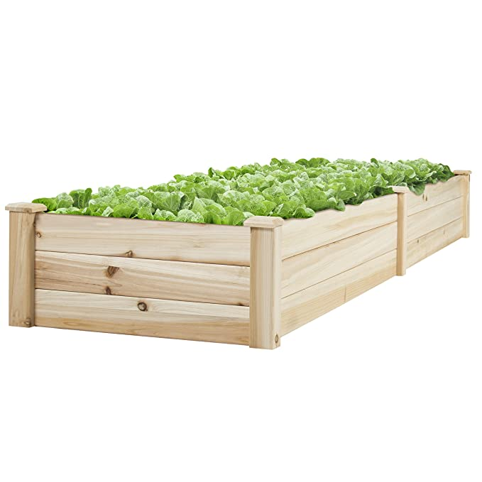 Best Choice Products Wooden Raised Elevated Vegetable Garden Bed Planter for Outdoor Gardening - Natural