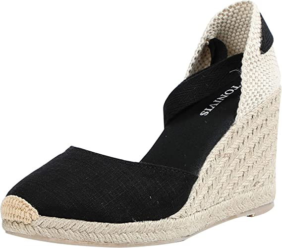 Women Espadrilles Ankle Strappy Flat Summer Sandals Slope heel Casual Shoes Size