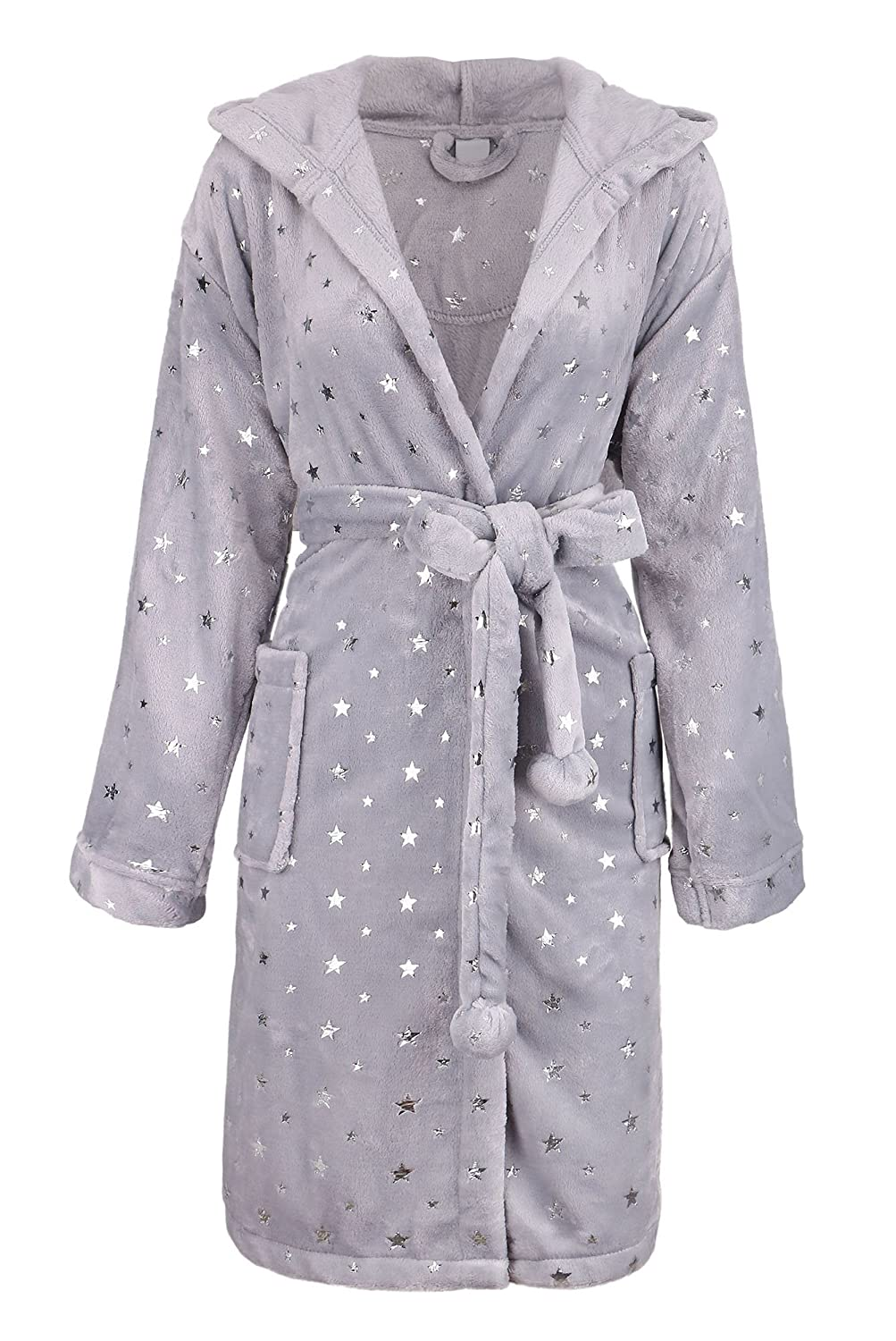 Womens Robe Luxurious Hooded Flannel Fleece Short Bath Robe with Side Pockets