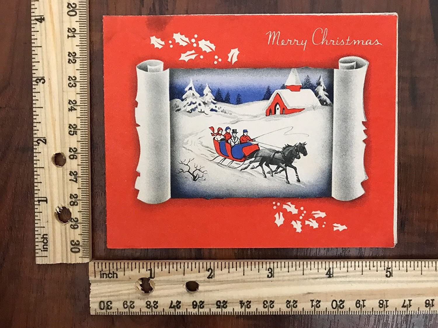 Amazon Vintage Greeting Card Merry Christmas Victorian Horse