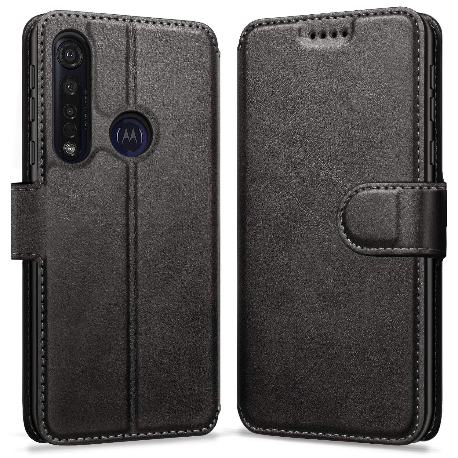 Funda Flip Cover Billetera Para Motorola Moto G8 Plus(negra)
