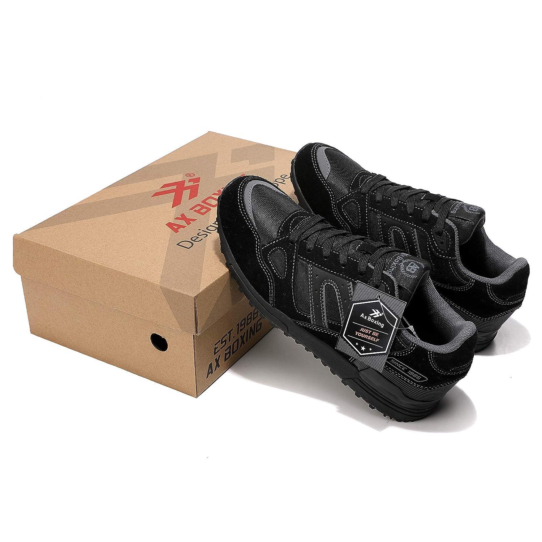 45 EU, A98333-Negro AX BOXING Zapatillas Hombres Deporte Running Sneakers Zapatos para Correr Gimnasio Deportivas Padel Transpirables Casual