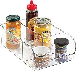 InterDesign Linus Divided Refrigerator, Freezer, Pantry Storage Organizer Bins for Kitchen, Clear