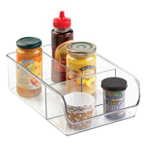 InterDesign Linus Divided Refrigerator, Freezer, Pantry Storage Organizer Bins for Kitchen, Clear