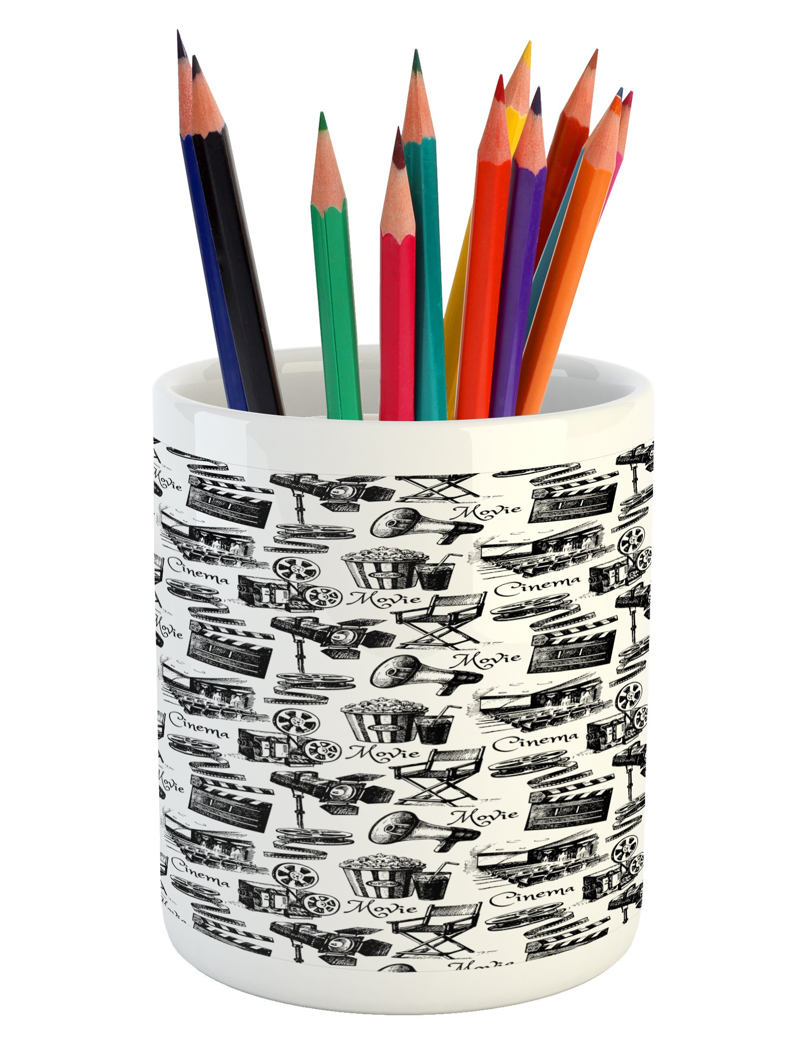 Lunarable Movie Pencil Pen Holder, Vintage Artful Film Cinema Icons Motion Camera Action Record Graphic Style Print, Printed Ceramic Pencil Pen Holder for Desk Office Accessory, Black White