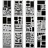 Aoyooh Bullet Gazzetta diario stampini piatti - Set di modelli disegno righello da decorare, calendario, planner, Leuchtturm & quaderni A5 (12 pz Bullet Gazzetta stencil)