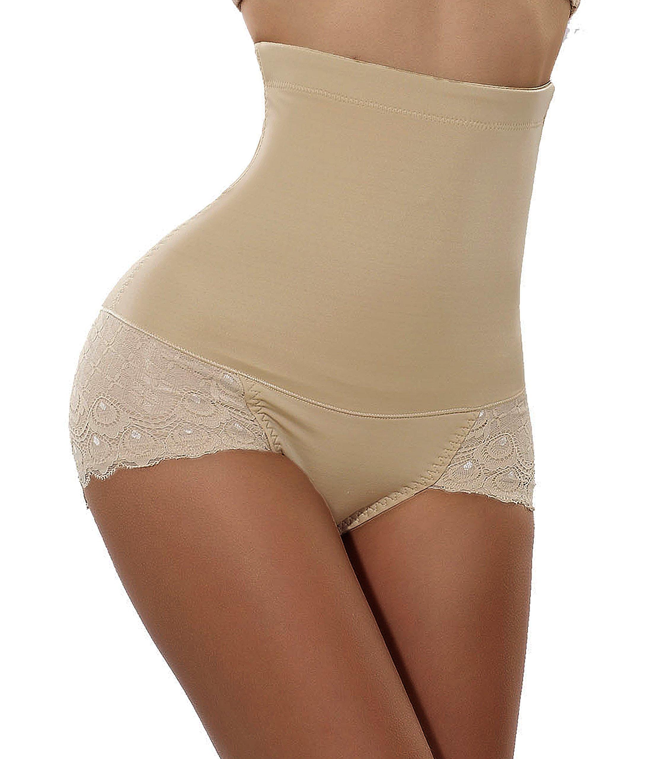 Hourglass Figure Butt Lifter Shaper Panties Tummy Control High Waisted Boyshort(XL Fits 28.7-31.4 Inch Waistline, Beige)