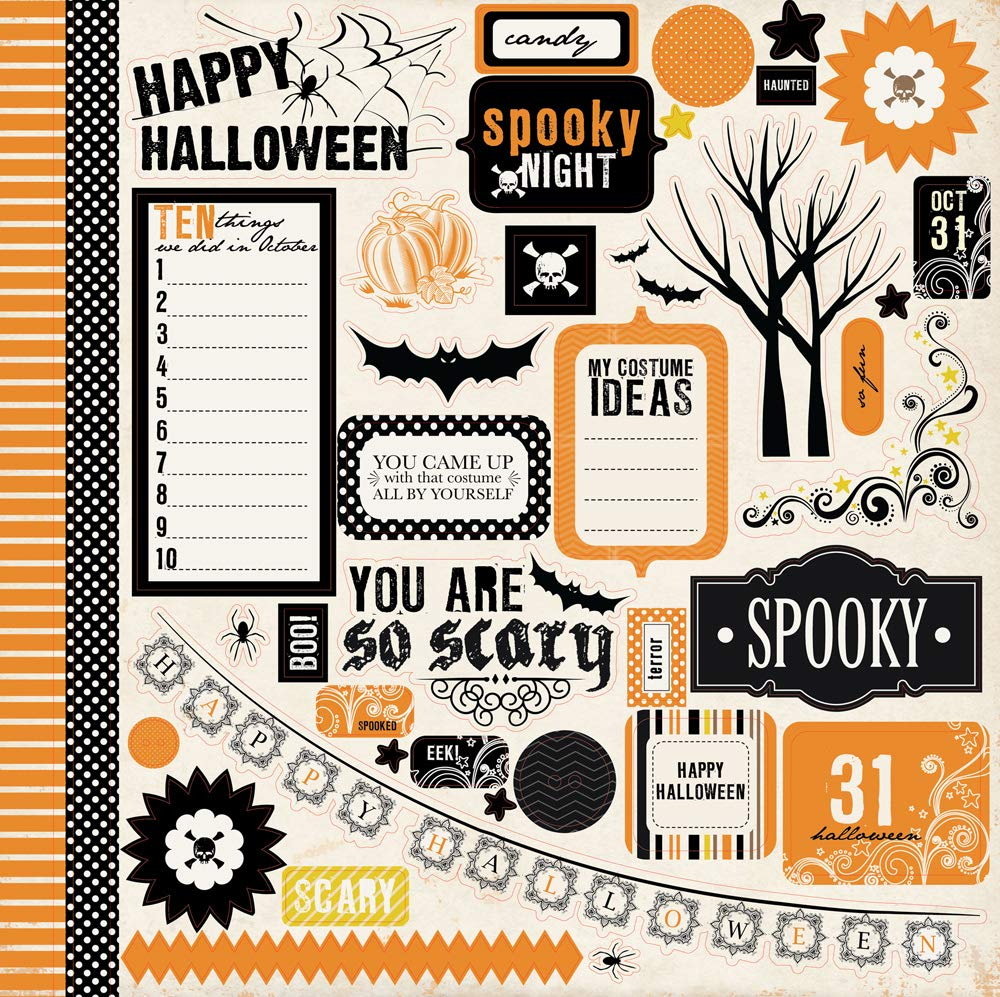Trees Item CBSP32016TM Echo Park Spooky Halloween 12x12 Scrapbooking Kit Skulls and Polka Dot Patterns Chevron and Bats with Damask Features Spiders Copyright 2015 Pumpkins