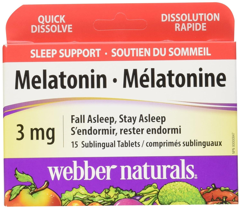Amazon.com: 4 Pack x Webber Naturals Melatonin 3mg, 15 sublingual Tablets (Packaging May Vary): Health & Personal Care