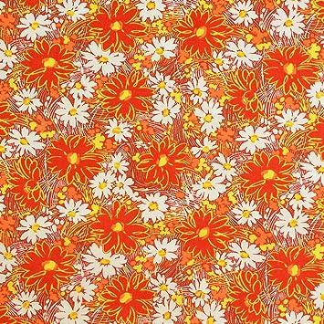f41570cd09 Patchwork Craft Tissu Orange d'automne Motifs fleurs en tissu Liberté de  qualité supérieure 100% ...