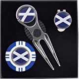 Mercia Golf Scotland Golf Gift Set, Includes Stainless Steal Divot Tool/Pitch Repairer, Hat Clip, Poker Chip and 3 Removable Scottish Flag Ball Markers Exciting New gift Ideas from
