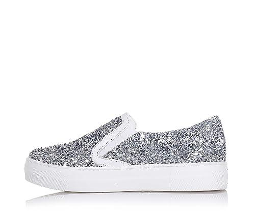CULT - Zapato plateado de glitter, con borde superior de cuero blanco, insertos laterales elásticos, Niña, Chica, Mujer-35