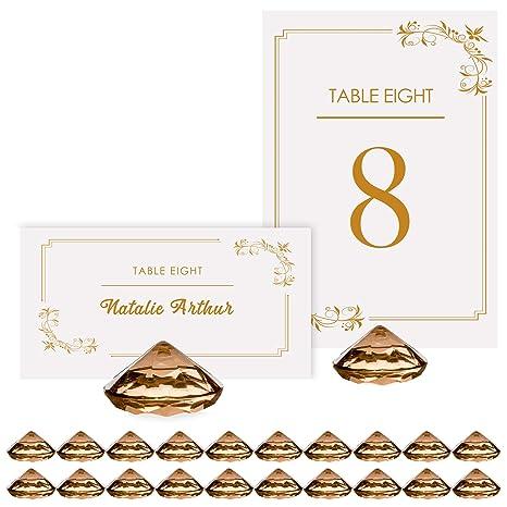 Amazon.com: Oro Diamond titulares de tarjetas de lugar para ...
