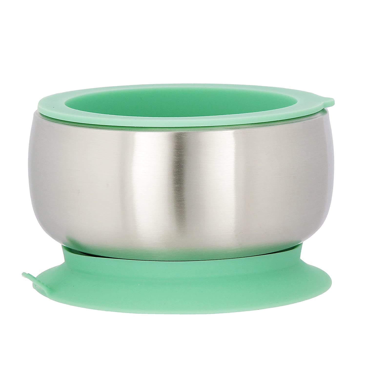Avanchy Baby Feeding Stainless Steel Spill Proof Stay Put Suction Bowl + Air Tight Lid - Great Baby Gift Set (Green) GBBLS