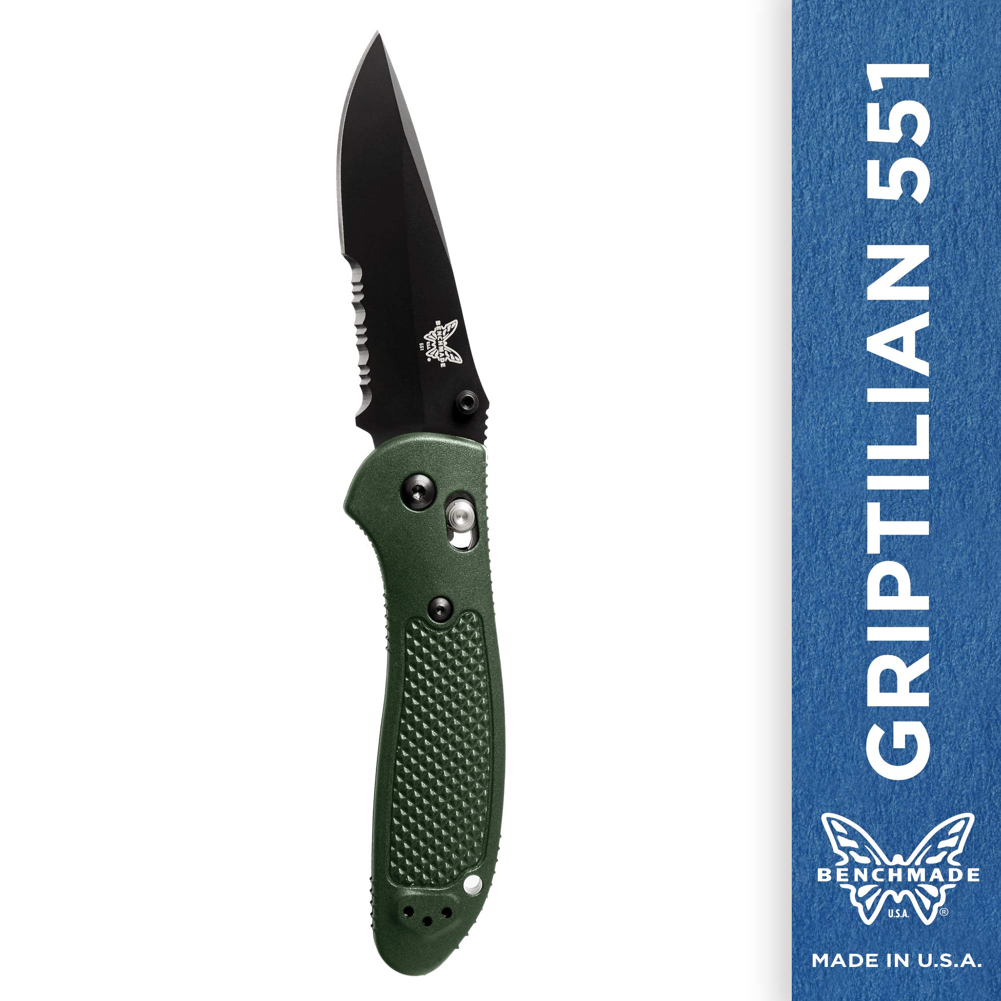 Benchmade - Griptilian 551 Knife with CPM-S30V Steel, Drop-Point Blade, Serrated Edge, Coated Finish, Olive Handle by Benchmade (Image #1)