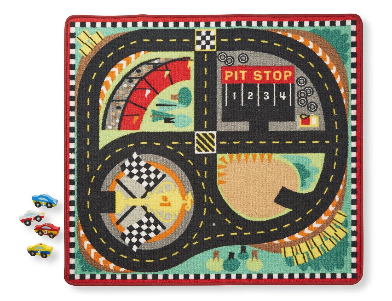 Amazon.com: Melissa U0026 Doug Round The Speedway Race Track Rug With 4 Race  Cars (39 X 36 Inches): Melissa U0026 Doug: Toys U0026 Games