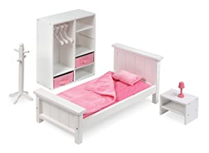 Badger Basket 13 Piece Bedroom Furniture Play Set for 18 Inch (fits American Girl Dolls), White/Pink
