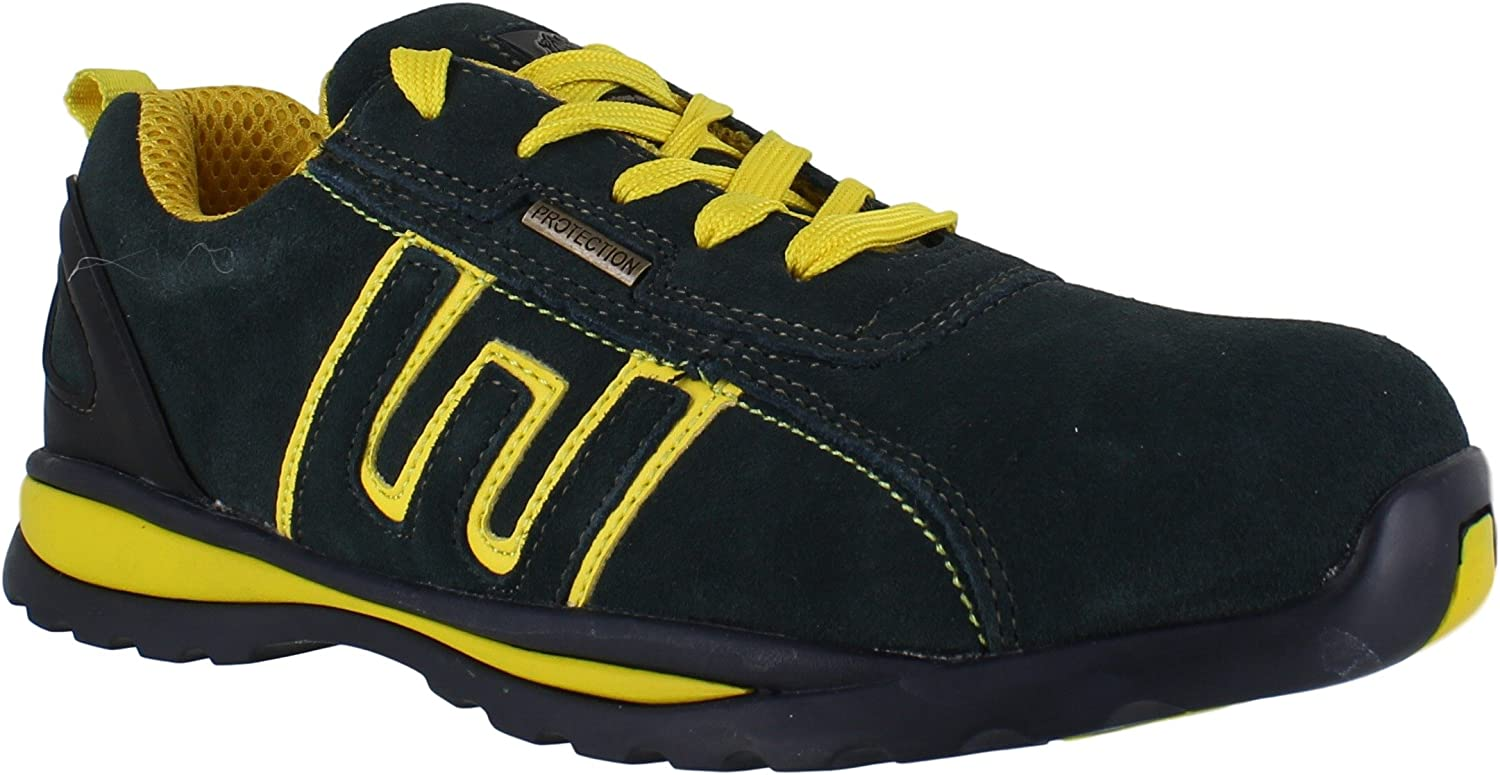 Groundwork Mens Work Safety Trainers S1 Lightweight Steel Toe Black Blue Shoes