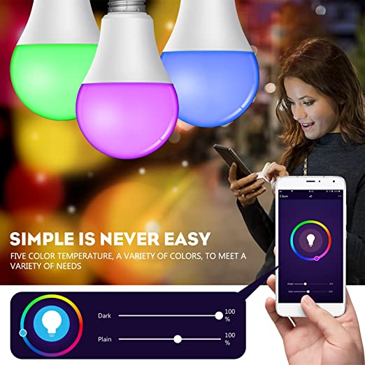 Amazon.com: Smart WiFi Led Light Bulb with Dimmable Warm White RGBW(2700k) Multicolored Color Changing A21 E26 smart light bulb works with Amazon Echo Alexa ...