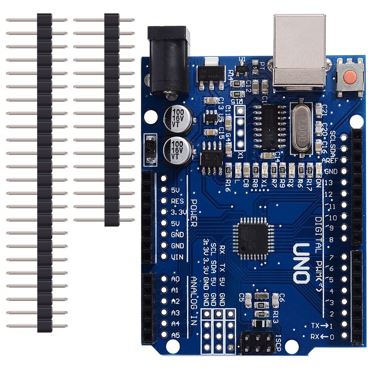 UNO R3 Arduino Rev3 ATMEGA328P CH340G Placa compatible DIY Cable y pernos libres del USB: Amazon.es: Electrónica