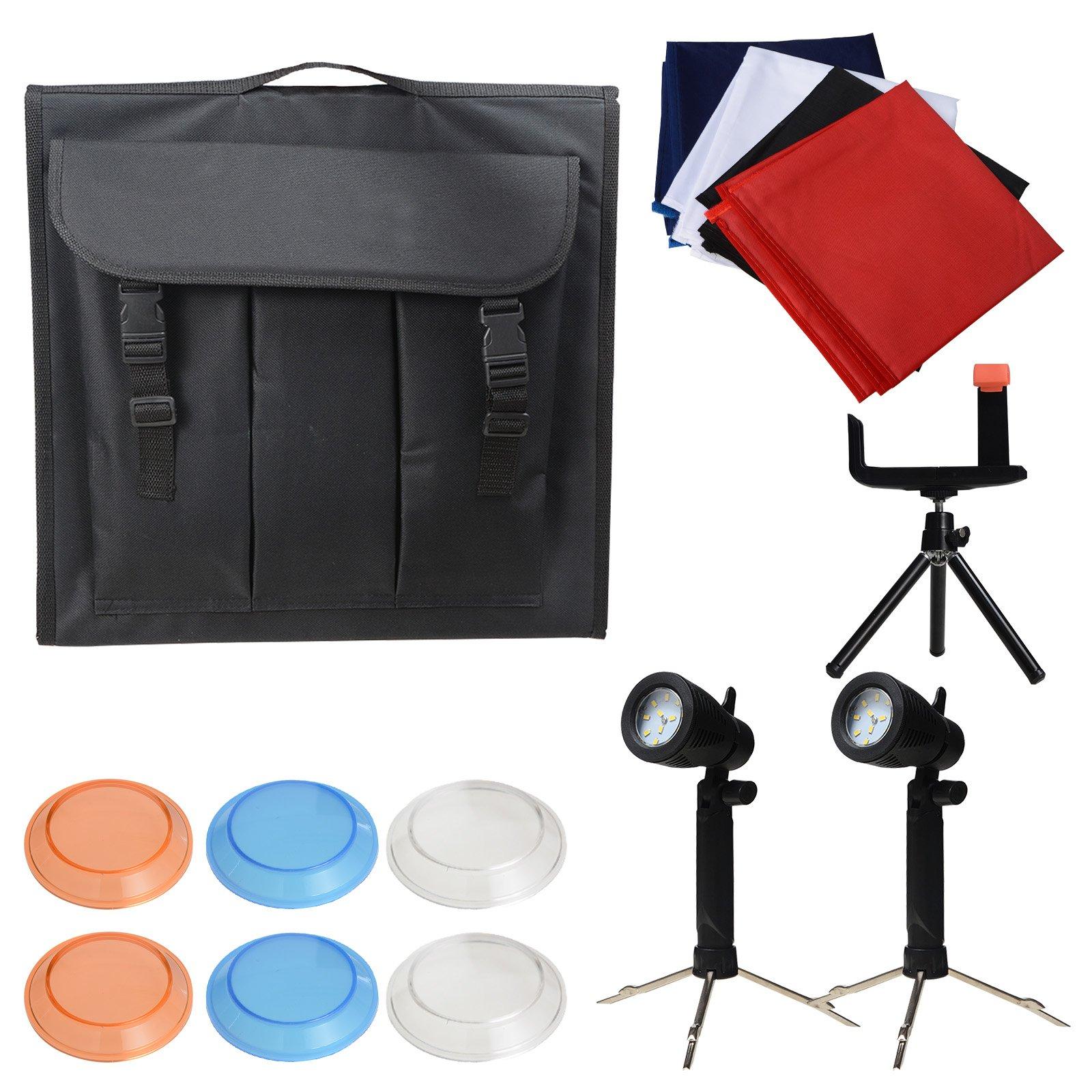 Voilamart Photo Shooting Tent Mini LED Studio Photo Box Portable Photography Cube Box with Four Backdrops, 5500K Continuous Lighting Kit, 40x40cm/16x16 Inch
