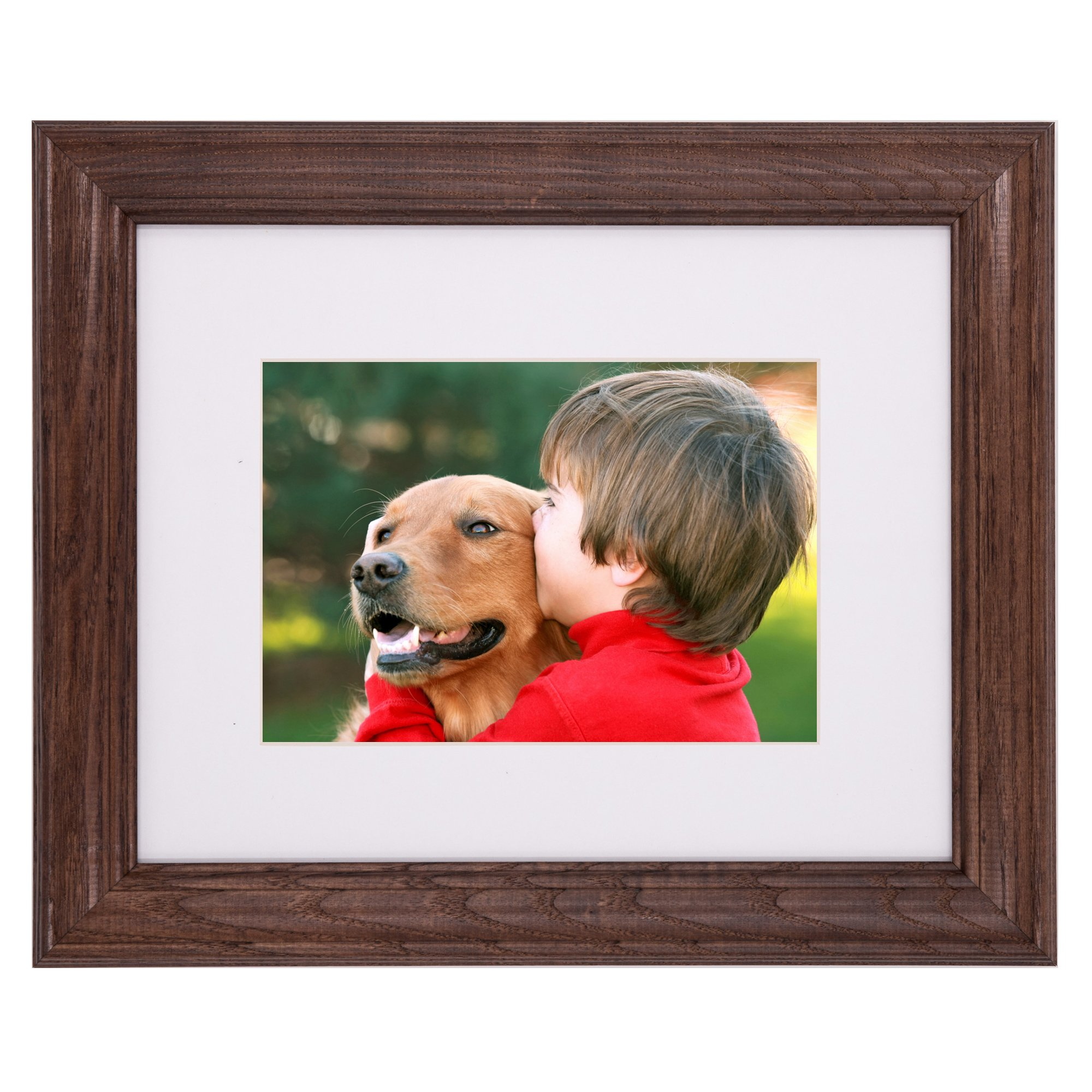 New 8x10 Picture Frame - Dark Oak Ash Hardwood w/Mat for Family & Friends Photos, 1-1/4 Inch Wide Molding - Hand Made in USA by Northern Promotions