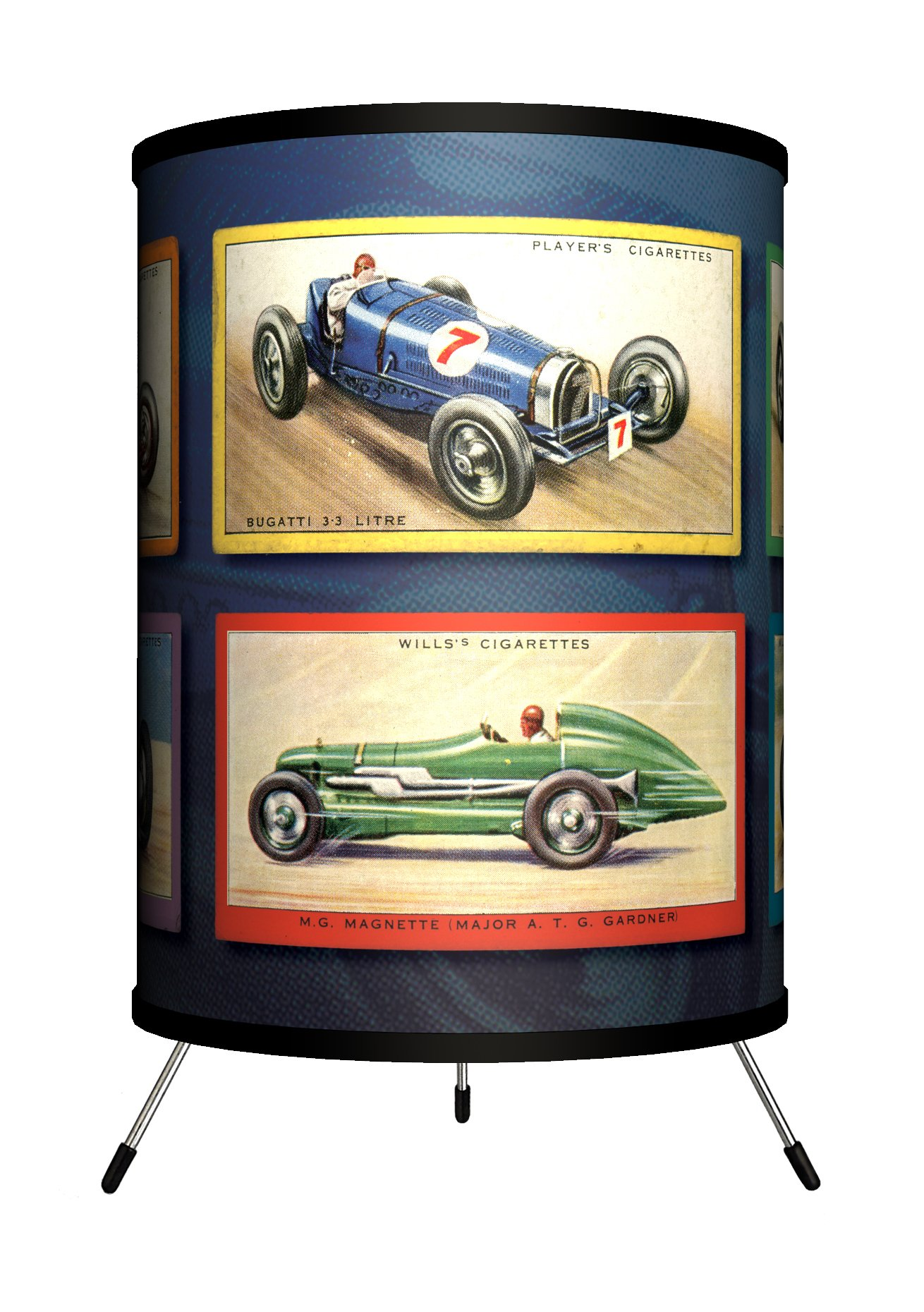 Lamp-In-A-Box TRI-TTN-VRACE Transportation - Vintage Race Cars Tripod Lamp