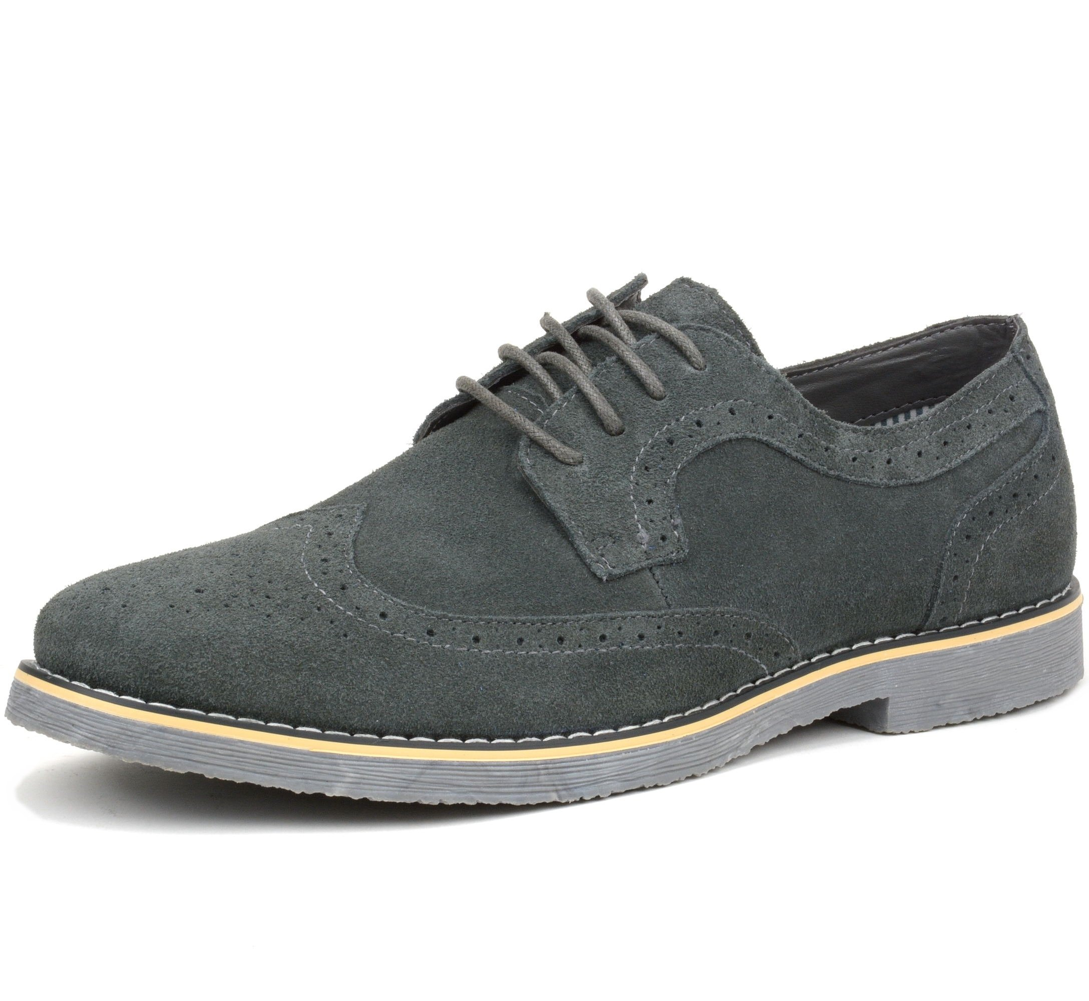 alpine swiss Beau Mens Dress Shoes Genuine Suede Wing Tip Oxfords Gray 12 M US by alpine swiss
