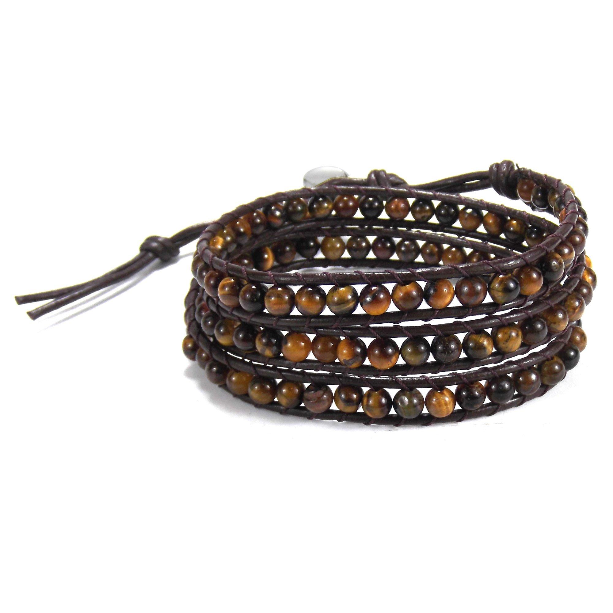 AeraVida Dark Brown Muse Tiger's Eye-Cotton Wax Rope-Leather With Base Metal Clasp Tribal Wrap Bracelet