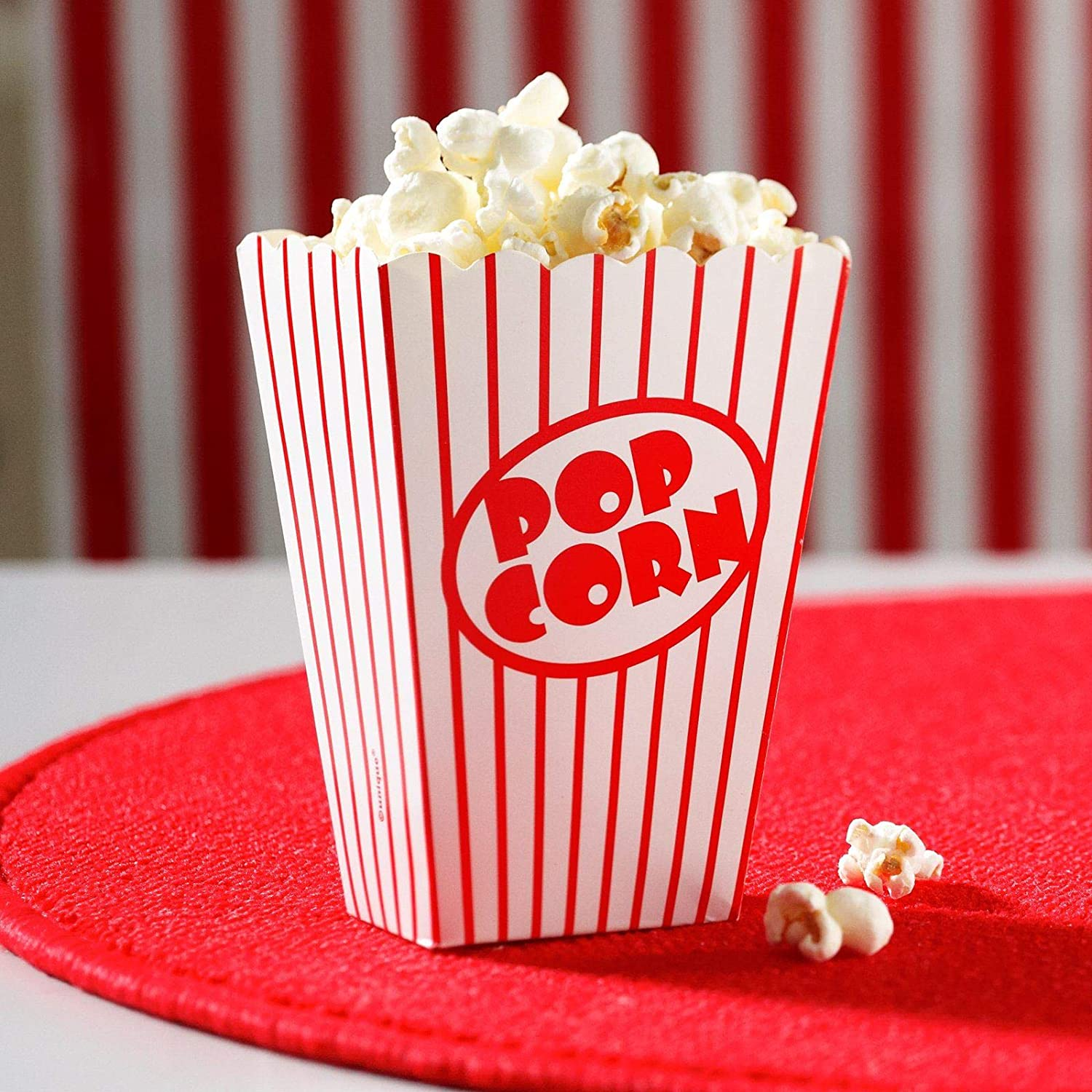 SHATCHI Pack Of 10 Paper Popcorn Cardboard Candy Container for Birthday Theatre Themed Cinema Movie Nights Carnivals Party Food Boxes, Red & White Striped
